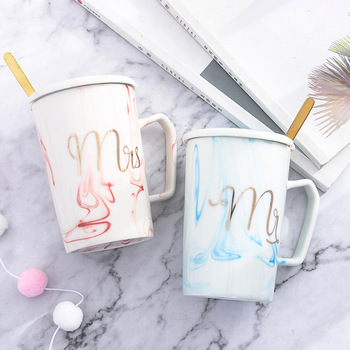 Nordic Style Marble Mr. and Mrs.Creative Couple Ceramic Mugs