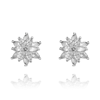 2020 Wholesale Jewelry Fashion Earrings Charm Design Flower Women Rhinestone 925 Sterling Silver Stud Earrings