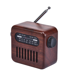 Retro Wood BT Rechargeable Portable FM AM WB Band Radio with Rotary Dial