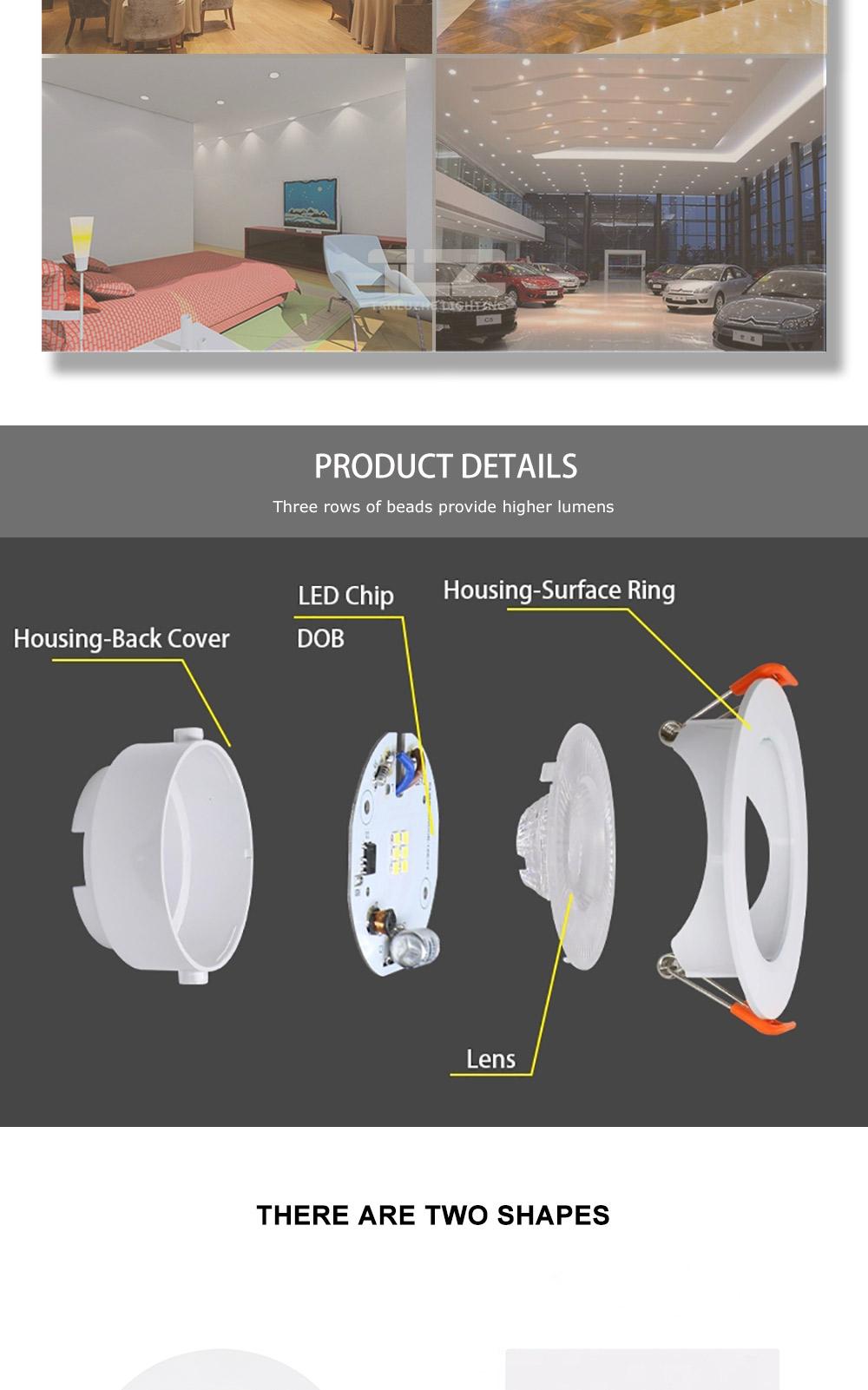 ZhongShan alüminyum çerçeve 3W 5W 7W 10W 12W galeri yuvarlak kare led spot ışık spot ince