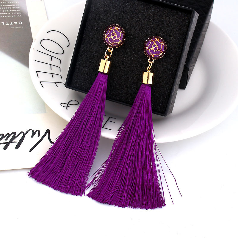 2019 Cheap New Bohemian Crystal Tassel <strong>Earrings</strong> Silk Fabric <strong>Rose</strong> <strong>Flower</strong> Long Drop Dangle Tassel <strong>Earrings</strong> For Women Jewelry