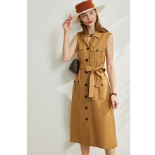 AMII минимализм весна лето солидное женское платье с отворотом без рукавов однобортное Платье До Колена с поясом 12070177(Китай)