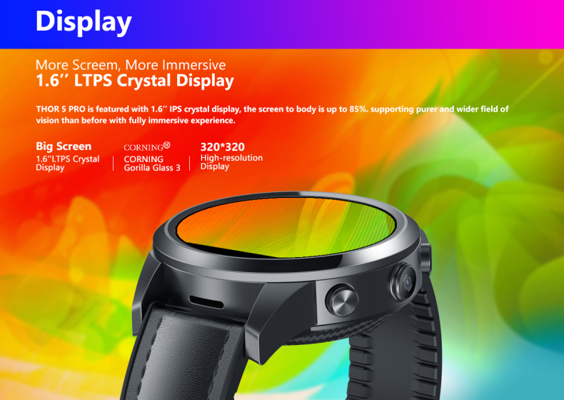 2020 Smart Watch Zeblaze Thor 5 Pro 4G Smart Watch with Dual Camera GPS WiFi Ceramic Bezel Android Mobile Phone Call Smart Watch