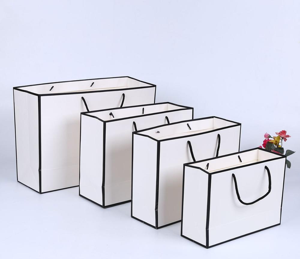 Saco de papel personalizado preto branco kraft saco de papel com seu próprio logotipo