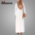 Latest Design Muslim Dress White Maxi Shirt Abaya Modest Clothing Women