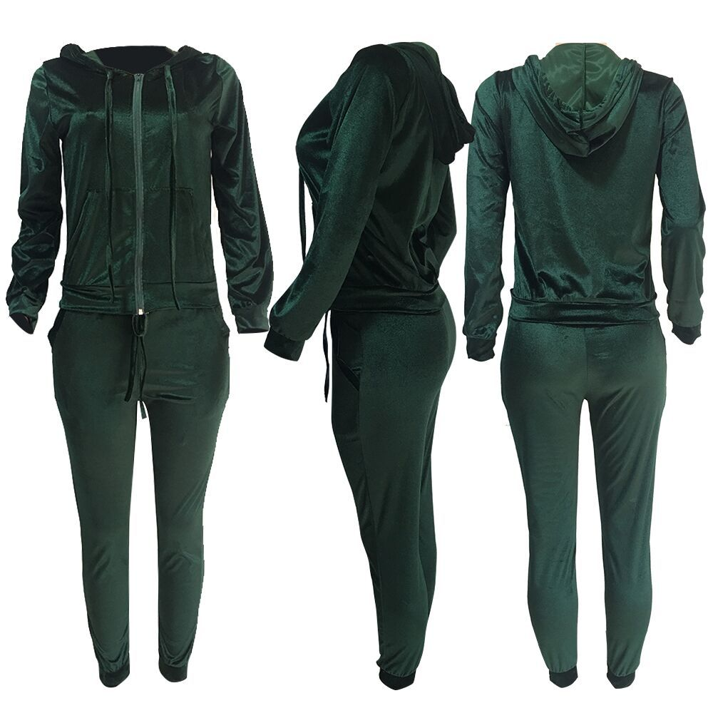 Fall 2020 Women Clothes Outfit Thicken Two Piece Sport Jogging Sets Long Sleeves Zipper Velvet Clothing Women 2 Two Piece Set