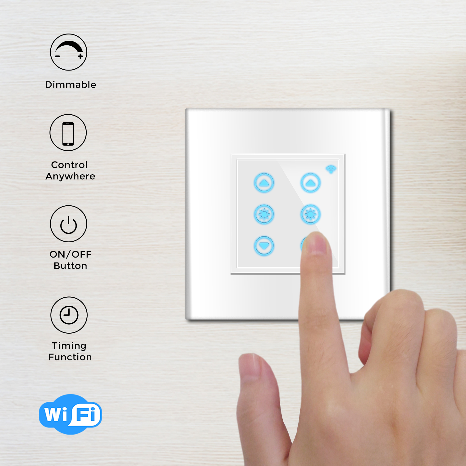 WF520D Moderne Design 2 Gang 1 Weg Wand Wifi Smart Touch Panel Dimmer Licht Schalter