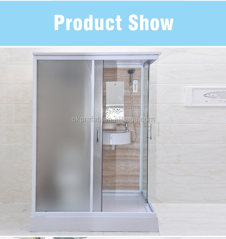 Bathroom Set Acrylic Steam Decoration Strip Shower Room Portable Prefab Fiberglass Shower Cabinet Tempered Clear Glass Sliding""