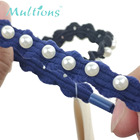 2pcs Wholesale blue and black hair ring with ribbon for braids hair bands