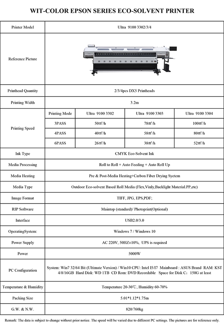 Wit-Color Ultra 9100 3302 high resolution inkjet printer Eco solvent type printer machine