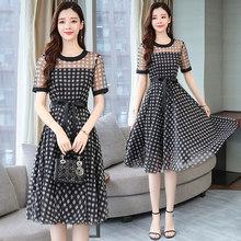 2020 элегантные черные клетчатые сетчатые сексуальные миди платья весна лето размера плюс винтажное подиумное короткое платье женские облег...(Китай)