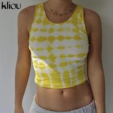 Женский топ без рукавов Kliou, эластичный Топ с o-образным вырезом, 2020, летняя повседневная Уличная одежда с o-образным вырезом(Китай)