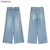 Latest design lady Blue Loose denim pants high waist wide leg women Jeans