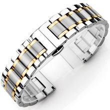 Ремешок из нержавеющей стали, металлический ремешок для часов, браслет, черный, серебристый, розовое золото и золото ремешок для часов 14 мм 16...(Китай)
