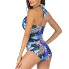 Banana Leaf Color Sexy One Piece Bikini Open Back Swimsuit