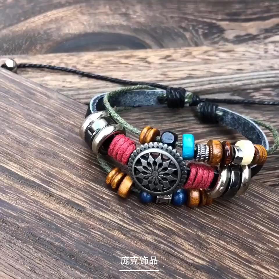 Migliore braccialetto di cuoio di vendita della piuma incorporato branelli del turchese 4 pcs braccialetto set