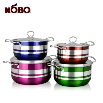 8PCs American Style Soup Cooking Pot Stainless Steel Stock Pot