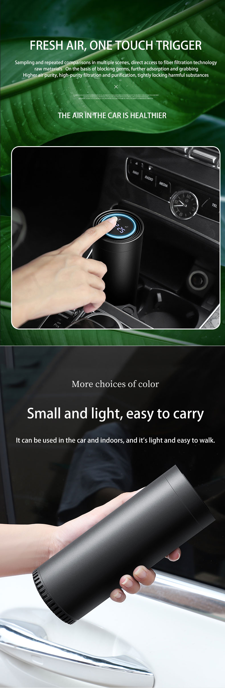 Bamboo Charcoal PM 2.5 Display Mini Auto Smart Usb Portable Uv Ionizer Hepa Cleaner Car Air Purifier With Hepa Filter