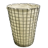 Home Large Round Metal Wire Storage Laundry Basket with Lining