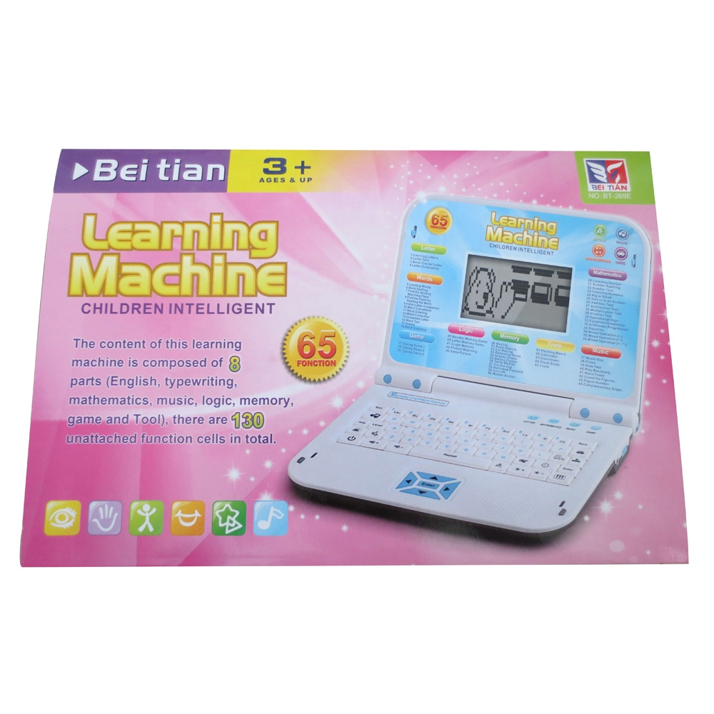 65 functions children intelligent english learning machine kids educational laptop with big screen