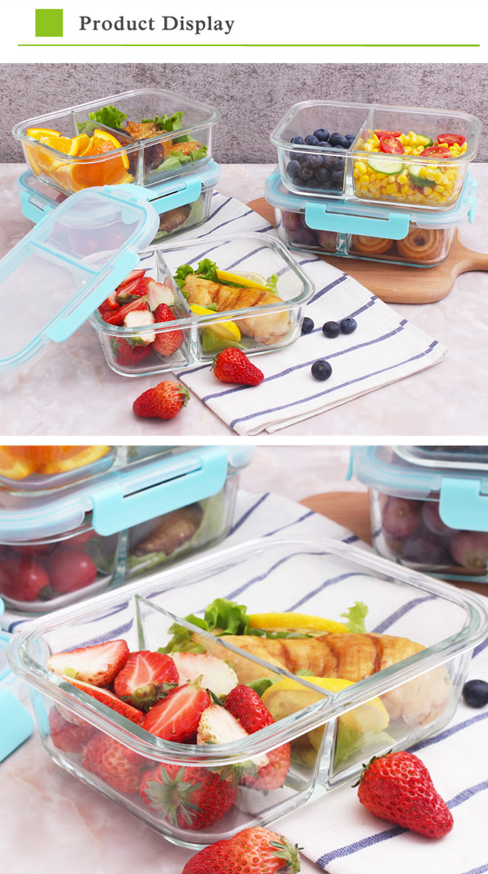 Lunch box full compartment glass food container