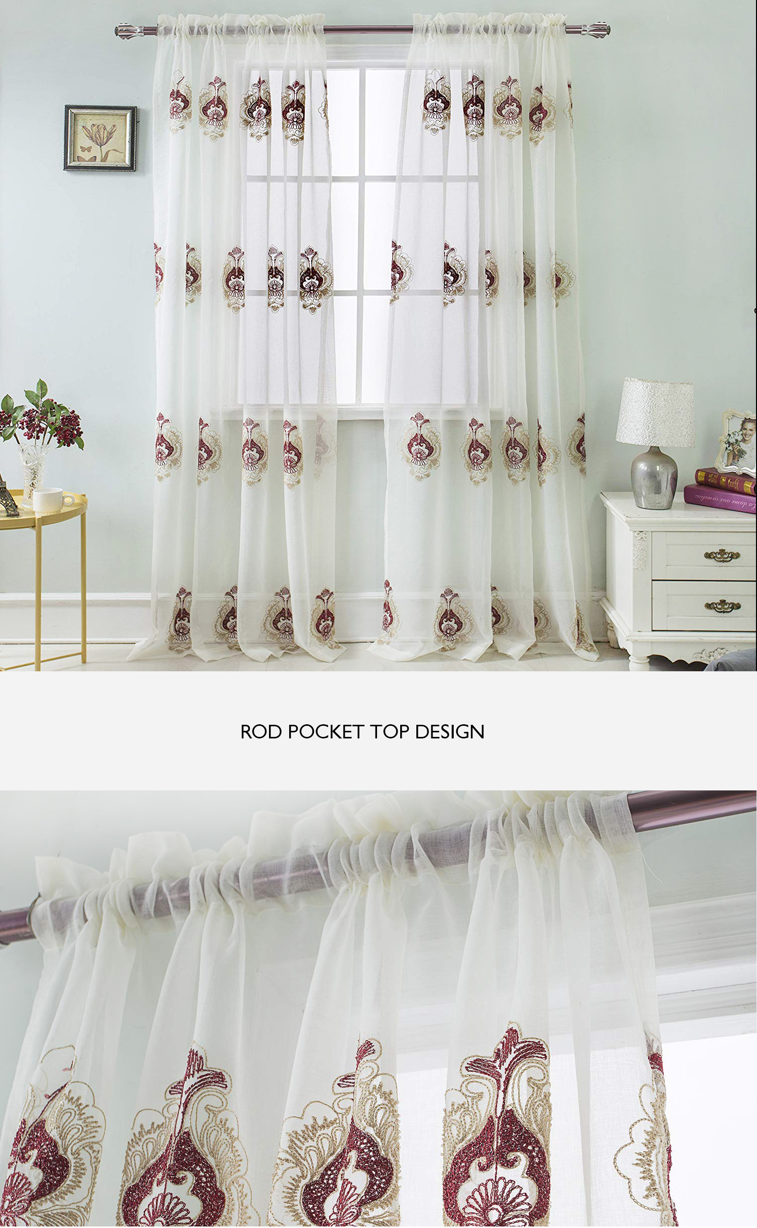 Hot selling cheap embroidery semi sheer curtain for living room