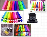 Hot Sale Colorful Silicone Ice Pop Molds with Connected Lids Multi Color Ice Cream Tools for Homemade DIY
