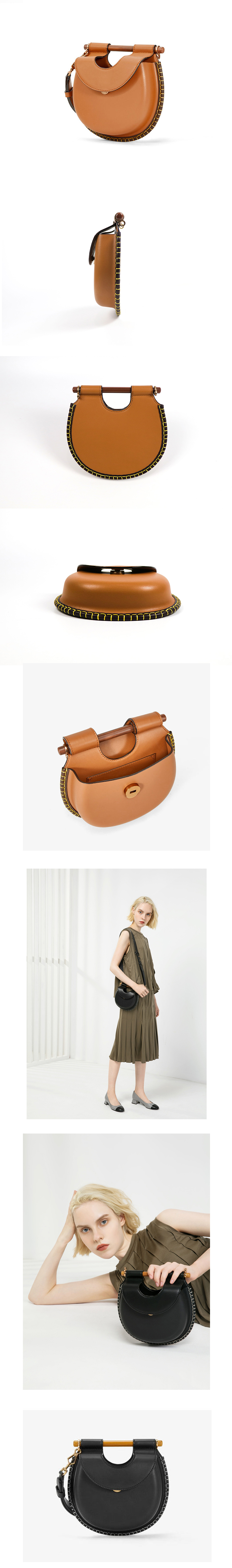2019 fashion Wooden handle decorated PU ladies shoulder bag factory wholesale cross body women round bag