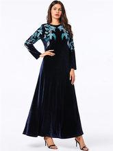 Темно-розовое цветочное вышитое Золотое бархатное платье макси, свободное большое красивое арабское платье 4X абайя пакистанский кафтан Ра...(Китай)