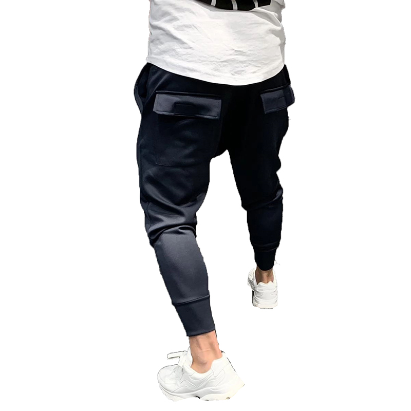 New Casual Joggers Pants Solid Color Men Cotton Elastic Long Trousers Cargo Pant