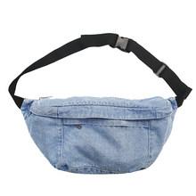 Унисекс джинсовая поясная сумка для женщин и мужчин на молнии Fanny Большая вместительная сумка для телефона кошелек уличный стиль нагрудная ...(Китай)