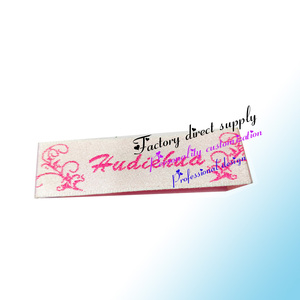 Customized design natural white cotton tape printing silk screen wash label for garment clothing