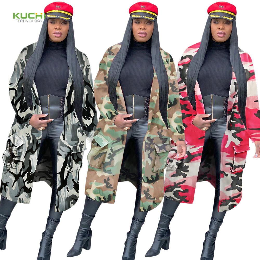 Fall Hot selling autumn and winter long <strong>trench</strong> <strong>coat</strong> Camouflage patchwork jacket <strong>for</strong> <strong>women</strong>
