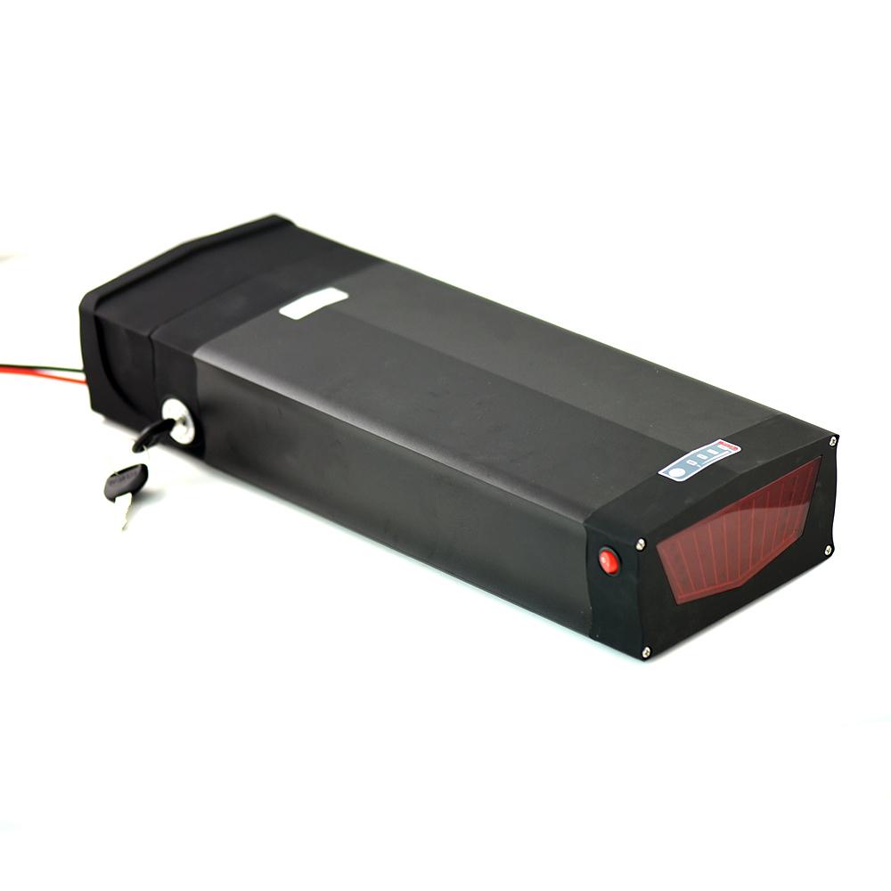 48V 31.5ah rear rack e bike battery 18650 Brand cell with BMS LED light, Black silver