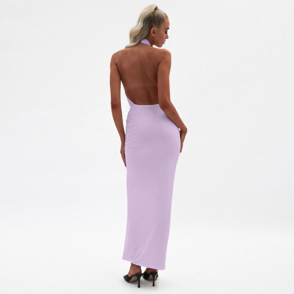 OEM Sexy irregular sleeveless short pure color backless sexy dress Summer white black purple violet nightclubs for ladies