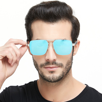 2020 New Arrival Mirrored Lens Flat Top Double Bridge Stainless Steel Unisex Pilot Sun Shades Sunglasses