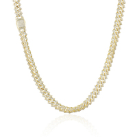 Miss Jewelry 9mm cz diamond iced out hip hop cuban link gold chains
