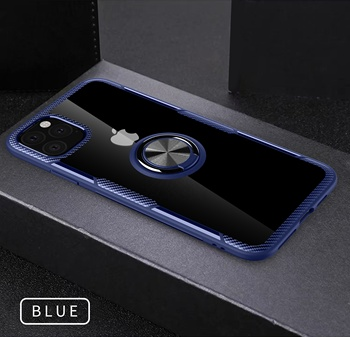 Wholesale transparent hybrid metal finger ring phone cover case for iPhone 11, clear car mount cover for iphone 11 case