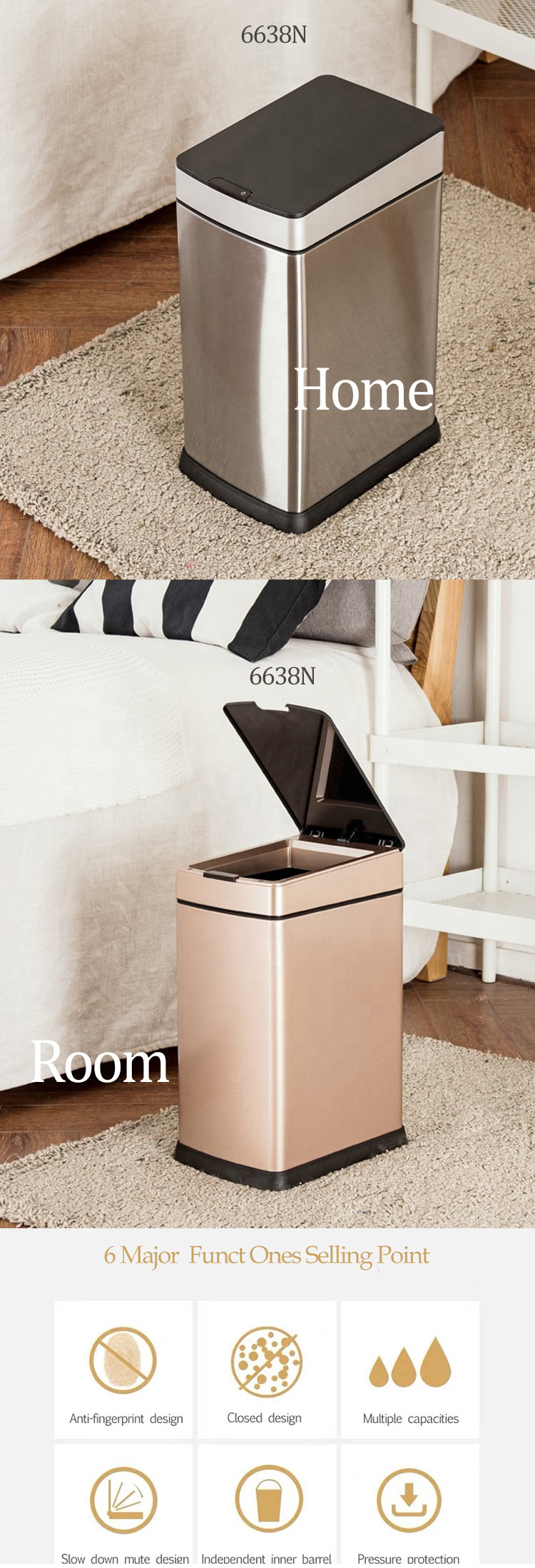 baby Diaper Pail Recycle 10L Dust Bin Plastic Material with cover