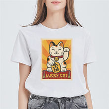Женские футболки размера плюс LUSLOS, летние женские футболки с коротким рукавом и рисунком Манеки Неко, Kawaii, топы в японском стиле(China)