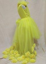 Реальное изображение, красивые платья для девочек с цветами для свадьбы, v-образный вырез, тюль, длина в пол, открытая спина, бальное платье Ю...(Китай)
