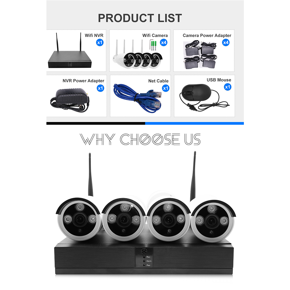 FULL HD Outdoor Waterproof 4CH 2MP 1080P Wifi NVR Kit Network IP CCTV Camera System Wireless with 2-Way Audio