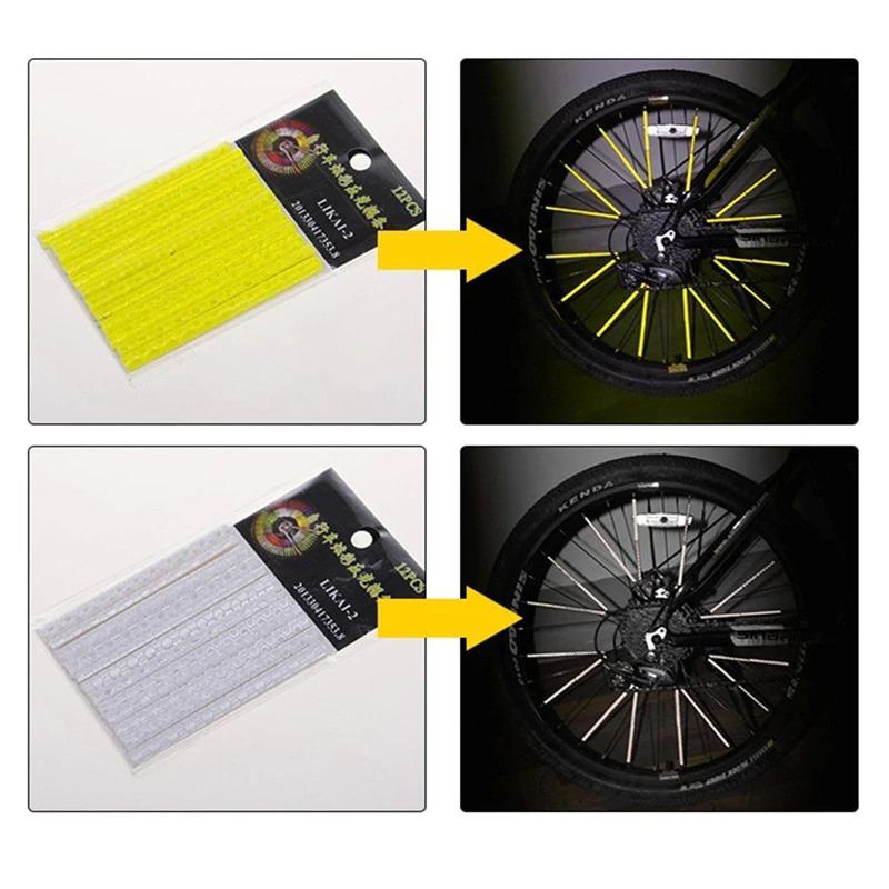 12 adet bisiklet aksesuarları led flaş lastik tekerlek vana kapağı ışık bisiklet yansıtıcı konuştu etiketler parçaları bisiklet + çerçeve