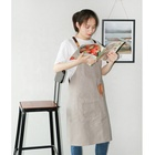 Light grey fresh and fashion non-disposable unisex white cotton apron for kitchen cooking barista or barber