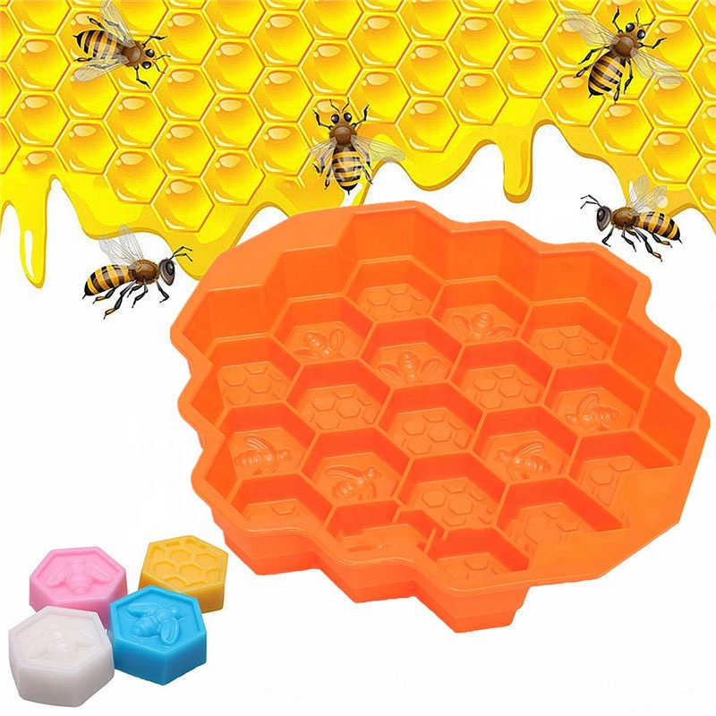 3D 19pcs Honeycomb bee shape fondant Baking Silicone Mold for DIY cookie chocolate ornament ice Soap clay sculpture  Bee silicon