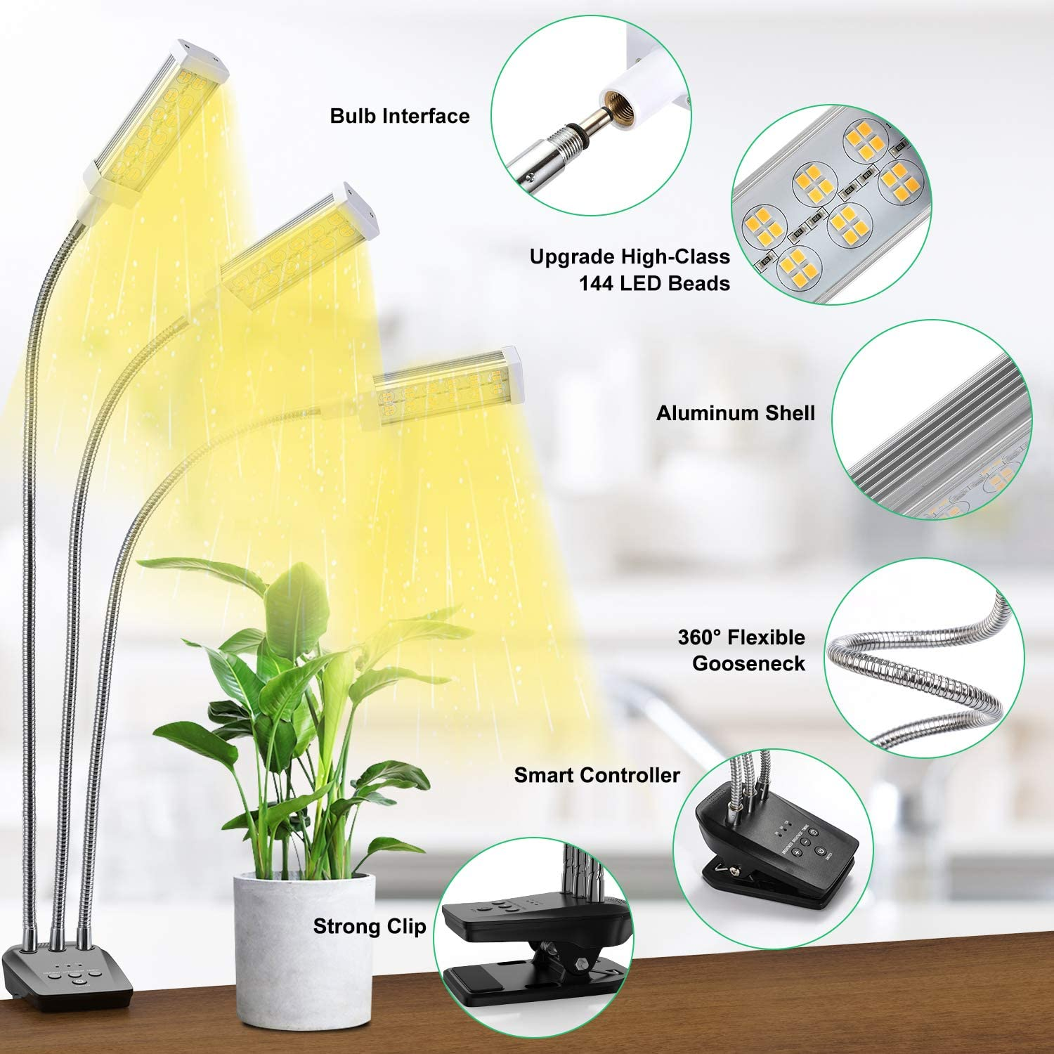 Plant Grow Light,  LED Growing Light Full Spectrum for Indoor Plants with Timer, Plant Growing Lamps for Seedlings