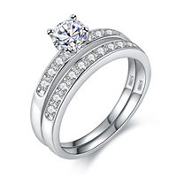 Mens Womens White Gold Plated Cubic Zirconia CZ Diamond Couple Rings Wedding Band Promise Ring