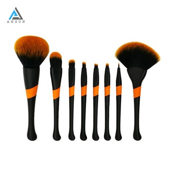 Wholesale Private Label Professional Natural Hair No Brand Beauty 8Pcs Makeup Brush Set With Case