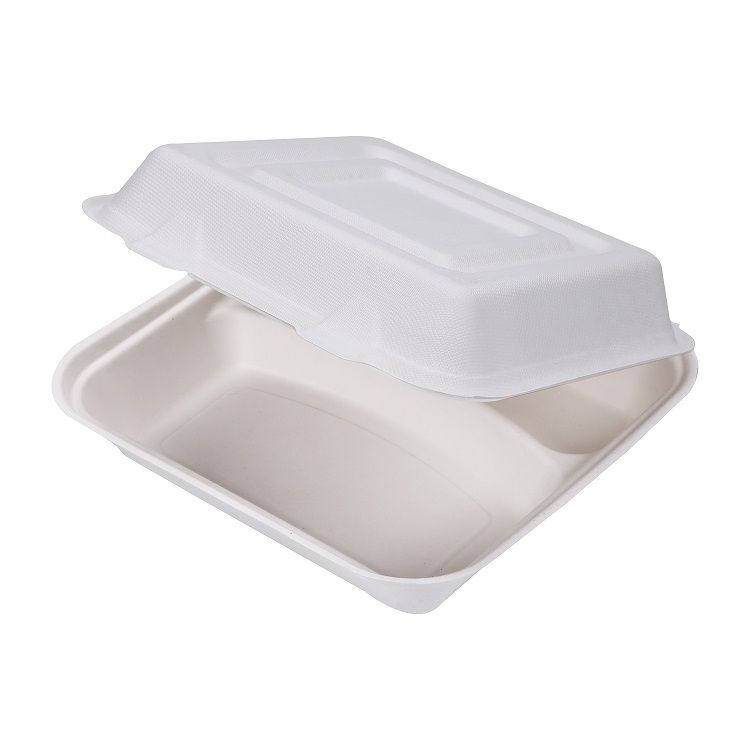 Takeaway Meal Use 8'' 9'' Biodegradable Food Containers Sugarcane Bagasse Pulp Clamshell Box
