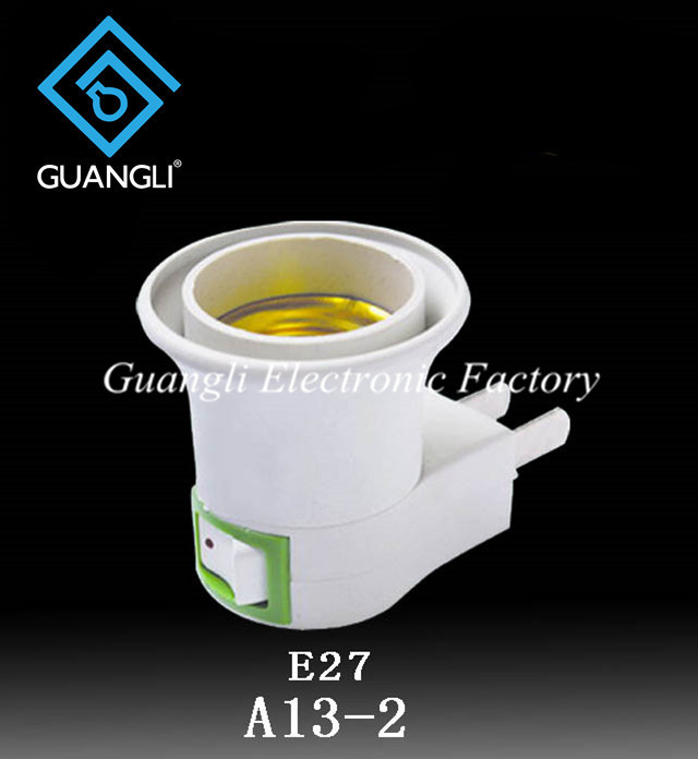 OEM A13-2 ETL ROSH approved night light socket American plug in lamp holder for acrylic night light